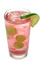 The Grape Cod is a pink drink made from Smirnoff grape vodka, cognac, Cointreau, cranberry juice, lime juice and simple syrup, and served with lime in a highball glass.