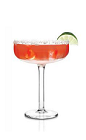 The Grapefruit Rita is an exciting variation of the classic Margarita cocktail. A red colored drink made from Cabo Wabo blanco tequila, Cointreau, ruby red grapefruit juice, lime juice and simple syrup, and served in a salt-rimmed margarita glass.