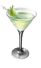The Green Apple Envy is made from Smirnoff Green Apple vodka and sour mix, and served in a chilled cocktail glass.