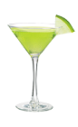 The Green Apple Martini is a green drink made from Smirnoff green apple vodka, Midori melon liqueur, sour mix and apple juice, and served in a chilled cocktail glass.
