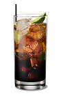 The Kahlua and Club Soda drink is made from Kahlua coffee liqueur, club soda and lime, and served over ice in a highball glass.