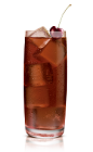 The Kokonut Coke drink is made from Stoli Chocolat Kokonut vodka and Coke, and served over ice in a highball glass.