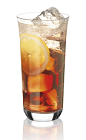 The Le Pompier is made from Noilly Prat, creme de cassis, lemon and club soda, and served over ice in a highball glass.