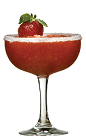 The Luna Strawberry Margarita drink recipe is a red colored cocktail made from Lunazul blanco tequila, lime juice, strawberries and simple syrup, and served blended in a chilled margarita glass.