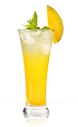 The Mango Mamma is a fruity orange colored drink recipe made from 901 Silver tequila, agave nectar, lime juice and mango juice, and served over ice in a highball glass garnished with mint and a mango slice.