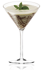 The Mint Amarula Splash is a brown colored drink made from peppermint schnapps, Amarula cream liqueur and heavy cream, and served in a chocolate garnished cocktail glass.