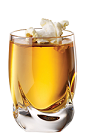 The Movie Night is an orange colored shot made from Tuaca vanilla citrus liqueur, butterscotch schnapps, salt and popcorn, and served in a chilled shot glass.