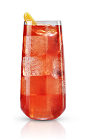 The New Peach Fizz is a red colored drink made from New Amsterdam peach vodka, pineapple juice, pomegranate juice and club soda, and served over ice in a highball glass.