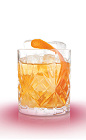 The Old Fashioned cocktail is a classic orange colored drink made from Mandarine Napoleon orange liqueur, bourbon and bitters, and served over ice in a rocks glass.