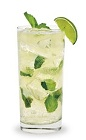 The Peach Mojito is a clear colored drink made from DeKuyper Peachtree schnapps, white rum, simple syrup, mint, lime juice and club soda, and served over ice in a highball glass.