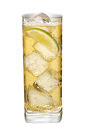 The Pear and Lemonade drink is made from Smirnoff pear vodka, lemonade and lemons, and served in a highball glass over ice.