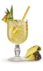 The Pineapple Smash is a tasty tropical drink made from spiced rum, light rum, lime juice, pineapple and club soda, and served over ice in any glass.