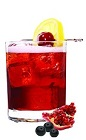 The Pom-Acai Punch is a red colored drink recipe made from VeeV acai spirit, spiced rum, pomegranate juice, simple syrup, bitters, lemon and cherry, and served over ice in a rocks glass.