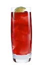 The Pomango is a red colored drink made from Smirnoff pomegranate vodka, green tea, mango juice and simple syrup, and served over ice in a highball glass.