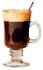 The Pumpkin Spiced Latte is a brown drink made from Patron XO Cafe liqueur, Fulton's Harvest pumpkin pie cream liqueur, coffee, sugar and whipped cream, and served in a warm Irish coffee glass.