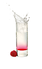 The Raspberry Blast shot is made from Malibu Red and raspberry syrup, and served in a chilled shot glass.