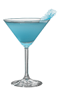The Rock Candy Martini is a blue cocktail made from Hpnotiq liqueur, citrus vodka and white cranberry juice, and served in a chilled cocktail glass.