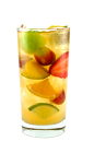 The Royal Mango is a colorful drink made from Smirnoff Mango vodka, sweet vermouth, lemon-lime soda, lemonade and fresh fruit, and served over ice in a highball glass.
