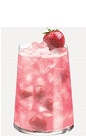 The Vodka Fraise cocktail recipe is a pink colored drink made from Burnett's rum, vodka, strawberry liqueur, lime juice, grenadine and club soda, and served over ice in a highball glass.