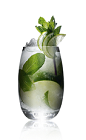 The Russian Mojito drink recipe is made from Danzka Citrus vodka, lime, mint, sugar and chilled champagne, and served over ice in a highball glass.