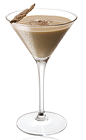 The Saharan Martini is a brown colored cocktail made from Amarula cream liqueur, hazelnut liqueur, vodka and chocolate, and served in a chilled cocktail glass.