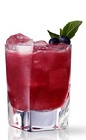 The San Francisco is a classy red colored drink named for San Francisco, California. This version is made from Martin Miller's gin, lemon juice, simple syrup, blueberries and tarragon leaves, and served over ice in a rocks glass.