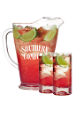 The Scarlett O'Hara Pitcher is a red colored punch made from Southern Comfort, cranberry juice, club soda and lime juice, and served from a punch bowl or pitcher.