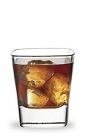 The Southern Buster is a brown drink made from Disaronno, bourbon and cola, and served over ice in a rocks glass.