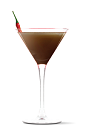 The Sriracha Chocolate Chili Martini cocktail recipe is a brown colored drink made from UV Sriracha vodka and Trader Vic's chocolate liqueur, and served in a chilled cocktail glass.