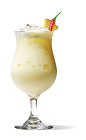 The Sriracha Diablo Colada cocktail is a tropical drink with a hint of heat. Made from UV Sriracha vodka, pina colada mix, pineapple juice and orange juice, and served over ice in a chilled glass.