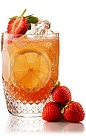 The Strawberryade Gin is an orange cocktail made form Beefeater gin, lemon juice, simple syrup, club soda and strawberries, and served over ice in a highball glass.