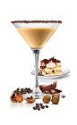 The Tiramisu Martini is an elegant dessert drink fashioned after the classic Italian Tiramisu dessert. A brown cocktail made from Frangelico hazelnut liqueur, SKYY vodka, Carolans Irish cream and espresso, and served in a chocolate-rimmed cocktail glass.