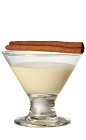 The Toasted Cinn is a cream colored shot made from Cinnaster cinnamon vanilla liqueur, butterscotch schnapps and heavy cream, and served with cinnamon in a chilled shot glass.