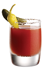 The Tuaca Bloody Mary is a red colored shot made from Tuaca vanilla citrus liqueur, bloody mary mix, gherkin pickle and a pickled pepper, and served in a salt and pepper-rimmed double shot glass.