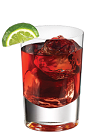 The Tuaca Cran is a red drink made from Tuaca vanilla citrus liqueur, cranberry juice and lime, and served over ice in a rocks glass.