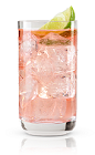 The Tuesday Tonic is a refreshing pink colored drink made from New Amsterdam gin, tonic water, cranberry juice and lime, and served over ice in a highball glass.