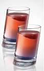 The Twisted Tomfoolery shot is a red colored drink made from Seagram's Red Berry Twisted gin, raspberry schnapps, blue curacao and lemon-lime soda, and served in a shot glass.