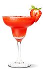 The Vacation cocktail recipe is a red colored tropical drink made from UV Coconut vodka, spiced rum, strawberries and daiquiri mix, and served blended in a chilled margarita glass.