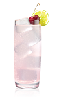 The Wild Lime Ricky is made from Stoli Wild Cherri vodka, lime juice, grenadine and lemon-lime soda, and served over ice in a highball glass.