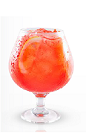 The Yeyo Strawberry Lemonade is a red colored drink made from Yeyo silver tequila, strawberries, lemon and simple syrup, and served over ice in a chilled brandy snifter.