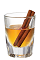 The Chilled Cinnaster is an orange drink made from Tuaca Cinnaster vanilla cinnamon liqueur, and served in a chilled shot glass with a cinnamon stick.