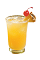 The Pineapple Sparkler is a yellow drink made from Southern Comfort cherry, pineapple juice and club soda, and served over ice in a highball glass.