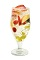 The Sangria Flora drink is made from white wine, St-Germain elderflower liqueur, peaches, strawberries, raspberries and grapes, and served over ice in chilled glasses.